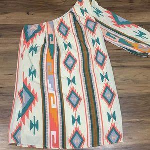 Aztec One Shoulder Dress